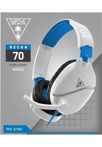 Headset Turtle Beach Recon 70 com Fio Branco Azul  - (PS5, PS4, PC, XBOX One/Series e Nintendo Switch)
